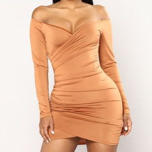 Gold  color dress off the shoulder mini dress
